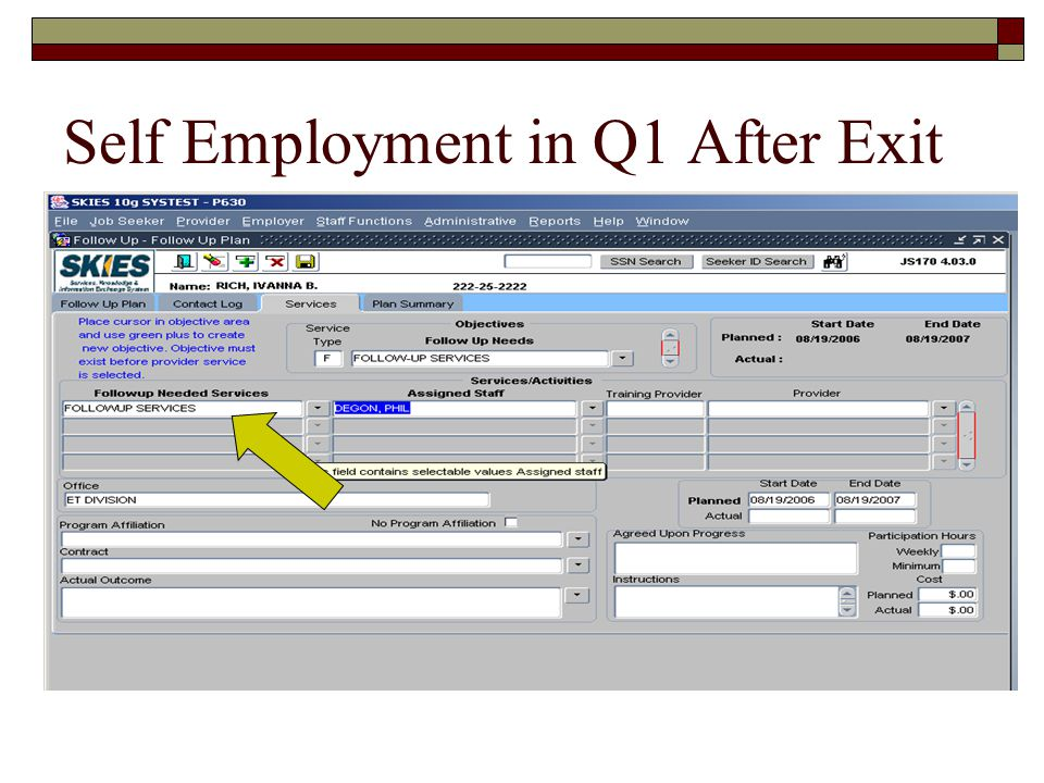 Self Employment in Q1 After Exit