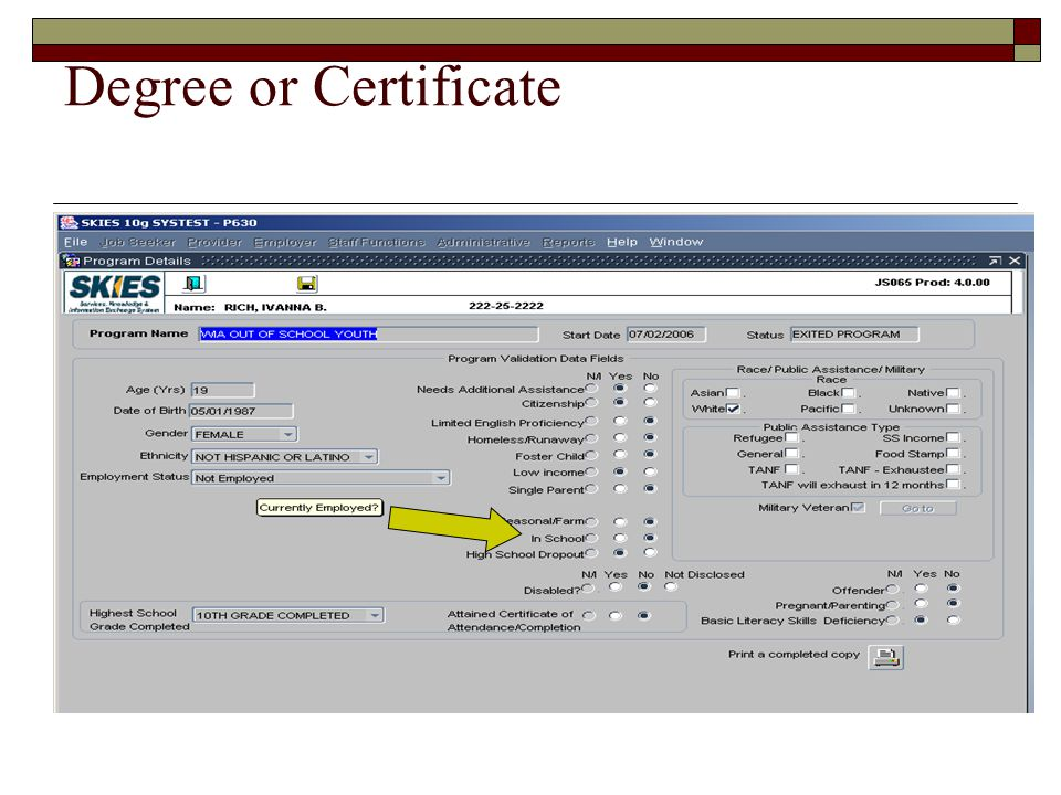 Degree or Certificate