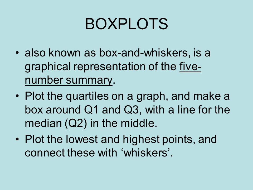 BOXPLOTS also known as box-and-whiskers, is a graphical representation of the five- number summary. Plot the quartiles on a graph, and make a box arou