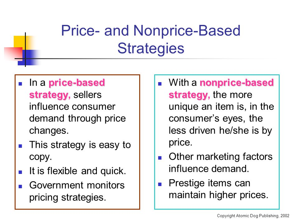 Copyright Atomic Dog Publishing, 2002 Price- and Nonprice-Based Strategies price-based strategy In a price-based strategy, sellers influence consumer demand through price changes.