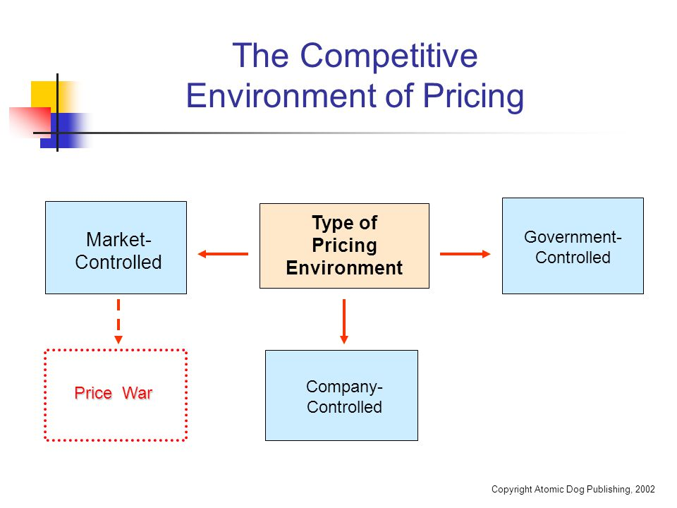 Copyright Atomic Dog Publishing, 2002 The Competitive Environment of Pricing Market- Controlled Type of Pricing Environment Government- Controlled Pri