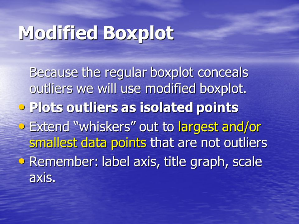 Modified Boxplot Because the regular boxplot conceals outliers we will use modified boxplot. Plots outliers as isolated points Plots outliers as isola