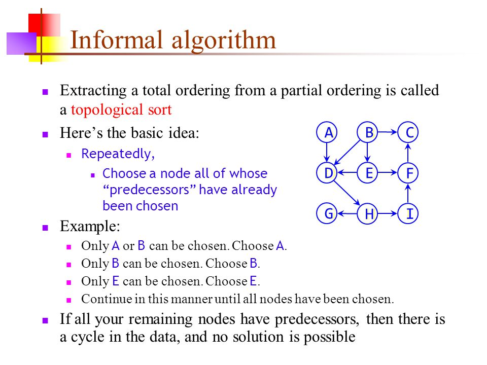 Informal algorithm Extracting a total ordering from a partial ordering is called a topological sort Here's the basic idea: Repeatedly, Choose a node a