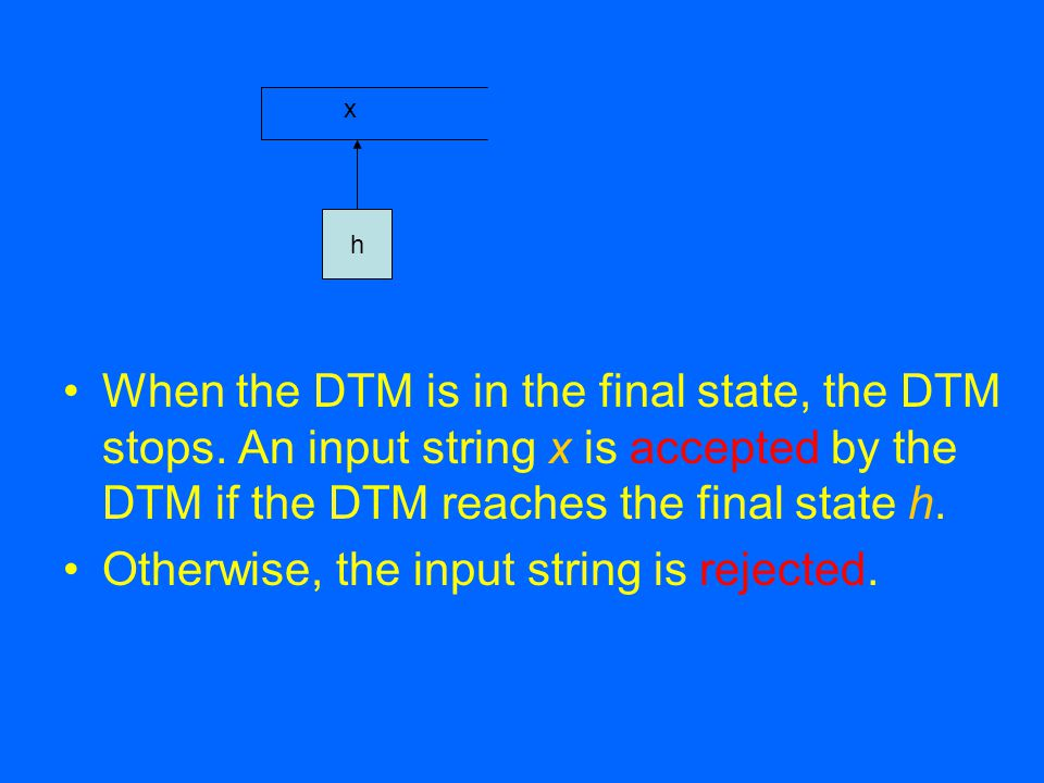 The DTM can be represented by M = (Q, Σ, Γ, δ, s) where Σ is the alphabet of input symbols.