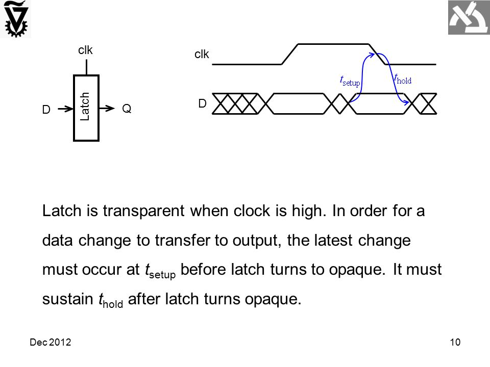 Dec 201210 Latch clk D Q D Latch is transparent when clock is high. In order for a data change to transfer to output, the latest change must occur at