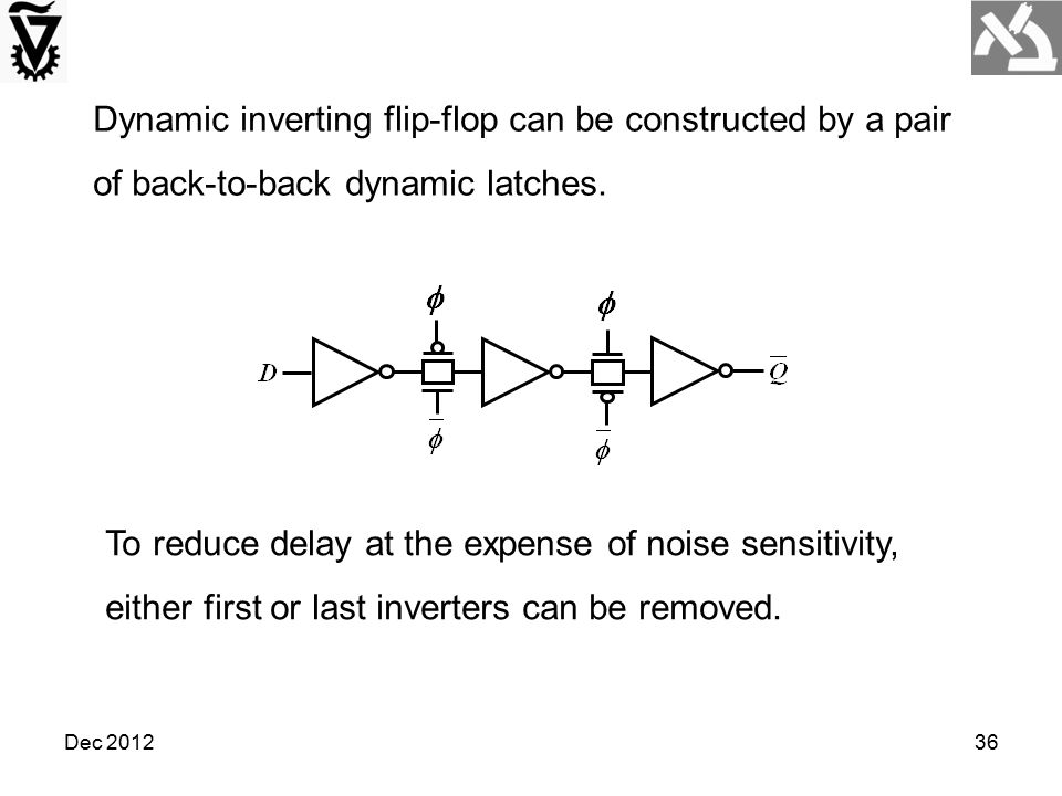 Dec 201236 Dynamic inverting flip-flop can be constructed by a pair of back-to-back dynamic latches. To reduce delay at the expense of noise sensitivi
