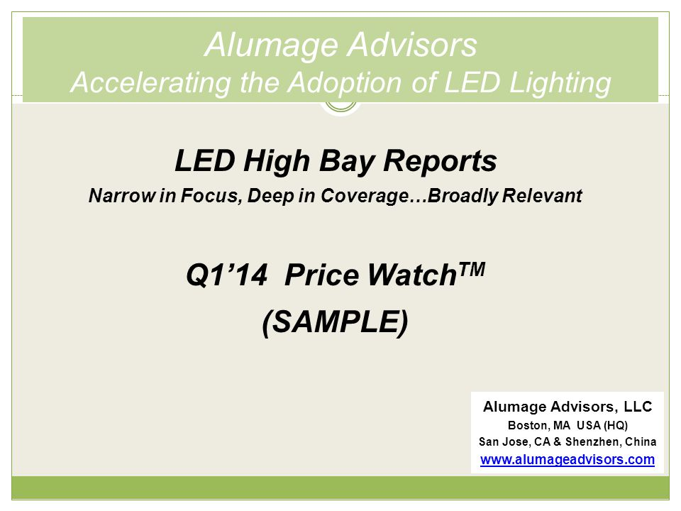 Q1'14 Price Watch TM Pricing vs. Environment Ratings, 2013 This Page Intentionally Blank