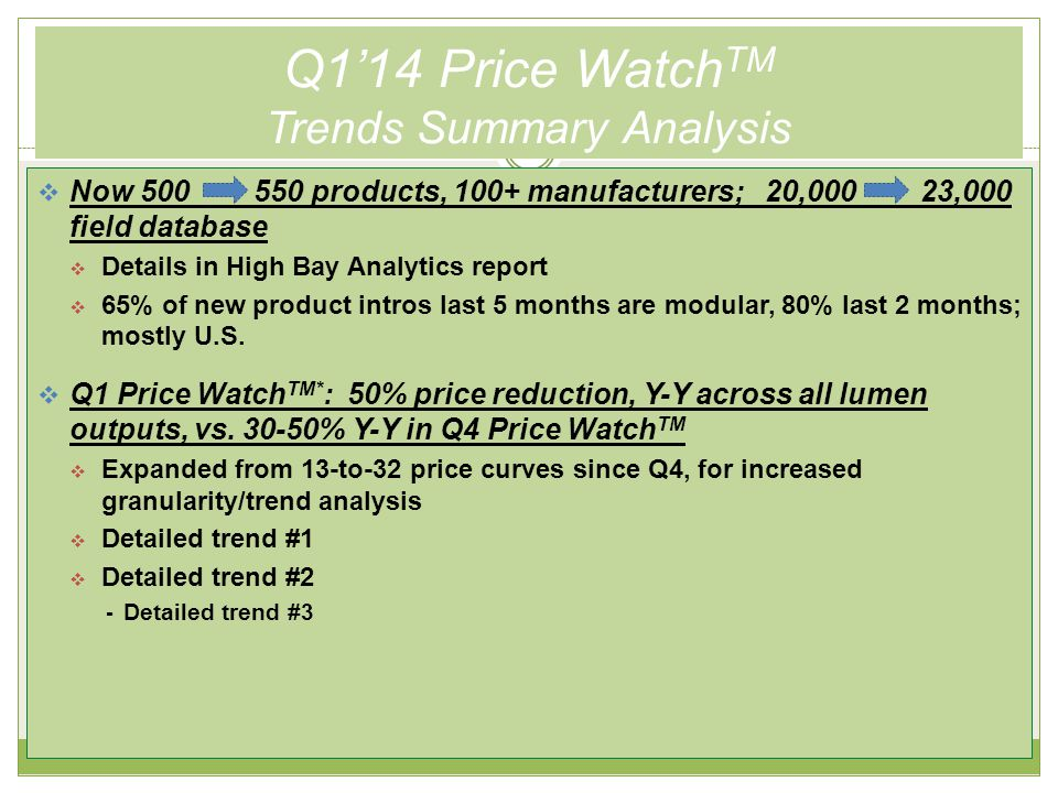 Q1'14 Price Watch TM Trends Summary Analysis (cont.)  Q1 Price Watch TM* : 50% price reduction, Y-Y across all lumen outputs, vs.