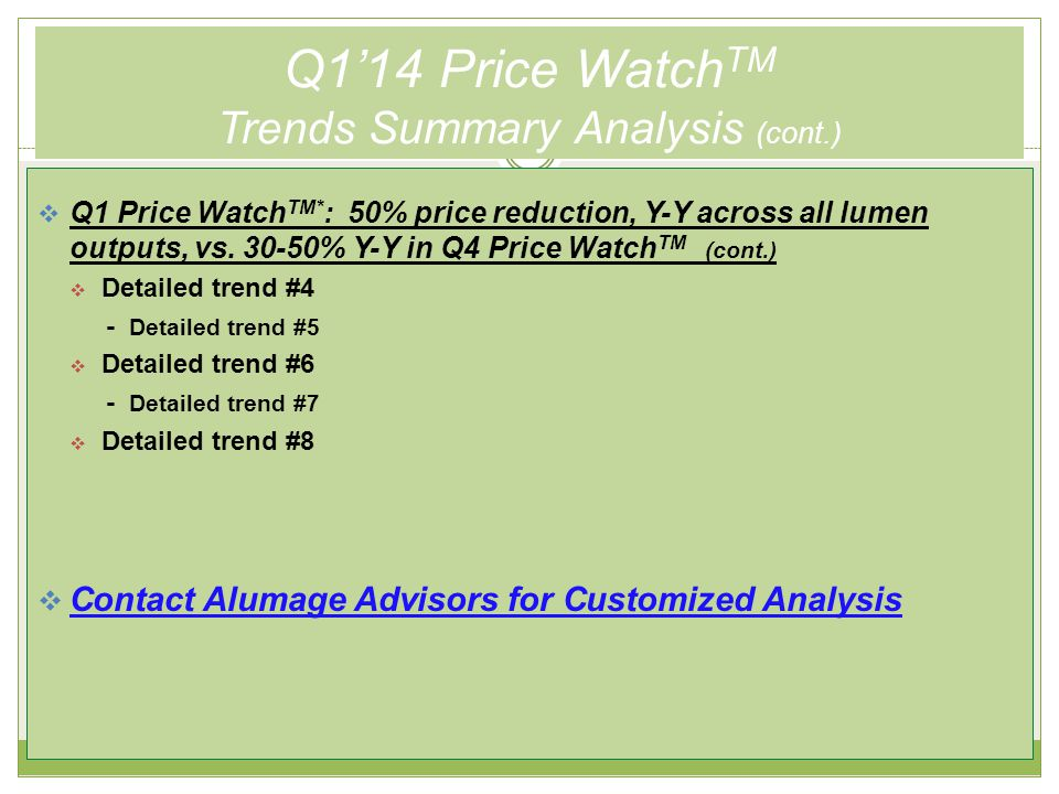 Q1'14 Price Watch TM 2012 vs. 2013 Pricing