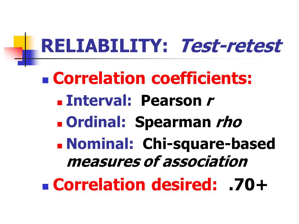 RELIABILITY: Test-retest Correlation coefficients: Interval: Pearson r Ordinal: Spearman rho Nominal: Chi-square-based measures of association Correlation desired:.70+
