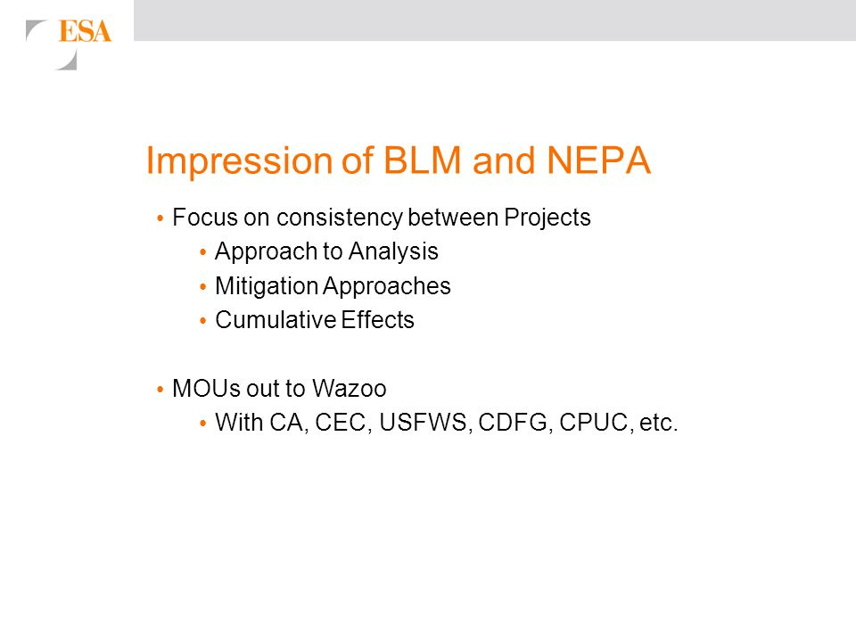 Impression of BLM and NEPA Focus on consistency between Projects Approach to Analysis Mitigation Approaches Cumulative Effects MOUs out to Wazoo With