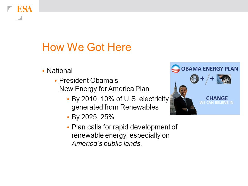 How We Got Here National President Obama's New Energy for America Plan By 2010, 10% of U.S.