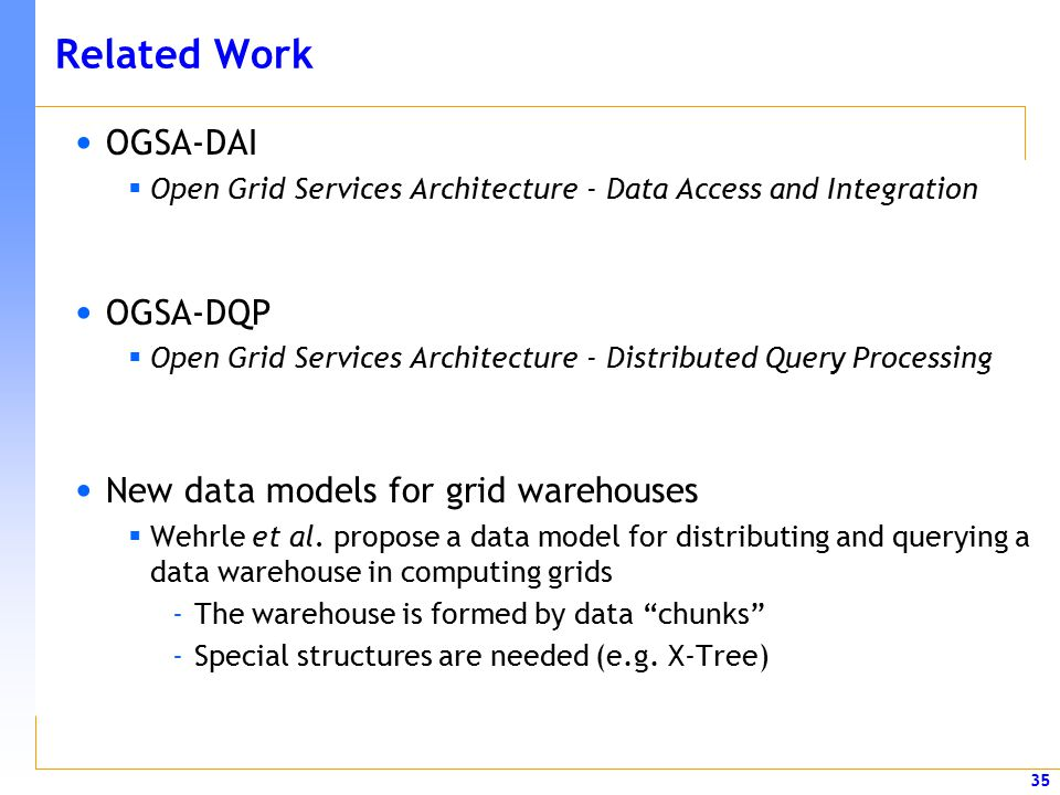 35 Related Work OGSA-DAI  Open Grid Services Architecture - Data Access and Integration OGSA-DQP  Open Grid Services Architecture - Distributed Quer