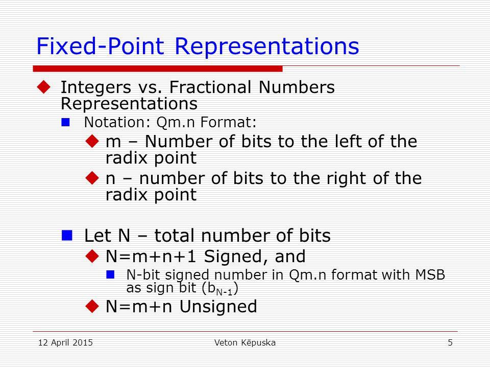 12 April 2015Veton Këpuska5 Fixed-Point Representations  Integers vs. Fractional Numbers Representations Notation: Qm.n Format:  m – Number of bits