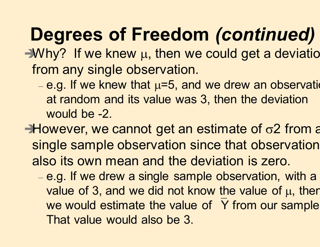 Degrees of Freedom (continued)  Why.