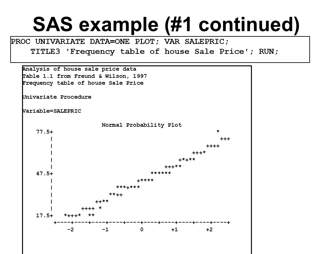 SAS example (#1 continued) Analysis of house sale price data Table 1.1 from Freund & Wilson, 1997 Frequency table of house Sale Price Univariate Procedure Variable=SALEPRIC Normal Probability Plot * | +++ | ++++ | +++* | +*+** | +++** ****** | +**** | ***+*** | **++ | ++** | ++++ * *+++* ** PROC UNIVARIATE DATA=ONE PLOT; VAR SALEPRIC; TITLE3 Frequency table of house Sale Price ; RUN;