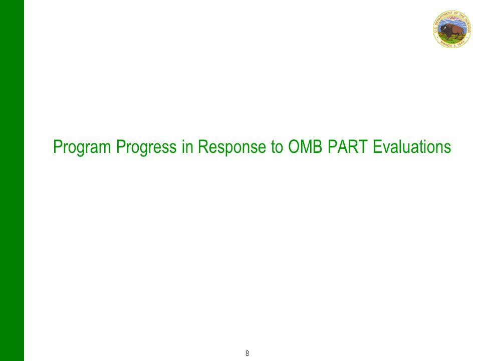 8 Program Progress in Response to OMB PART Evaluations