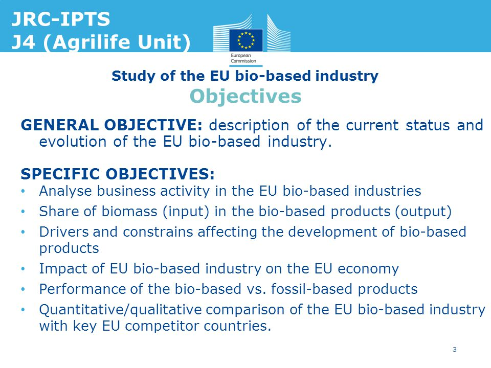 Study of the EU bio-based industry Objectives GENERAL OBJECTIVE: description of the current status and evolution of the EU bio-based industry. SPECIFI