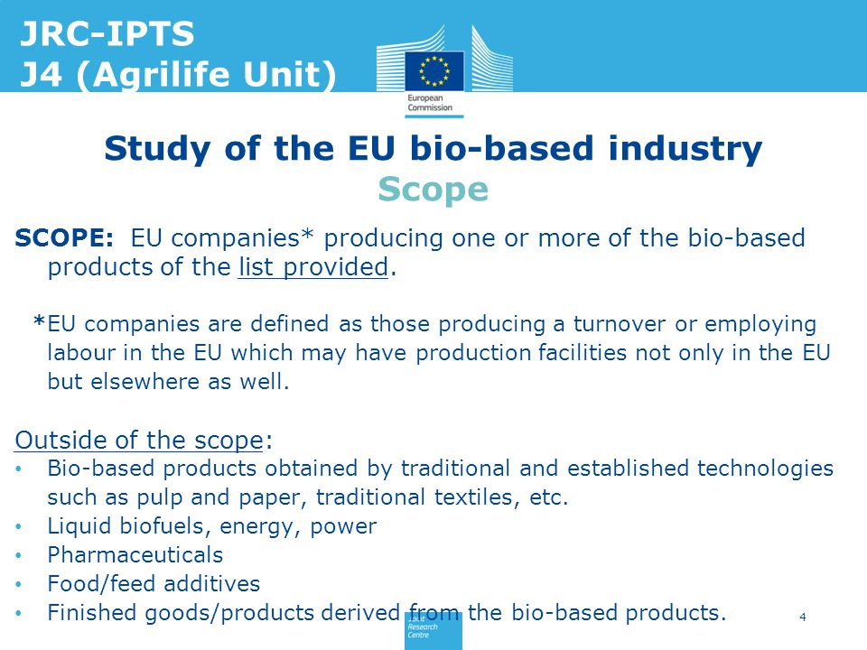 SCOPE: EU companies* producing one or more of the bio-based products of the list provided. *EU companies are defined as those producing a turnover or