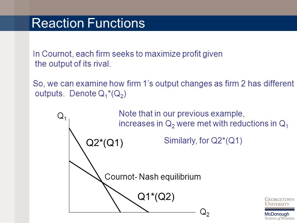Reaction Functions In Cournot, each firm seeks to maximize profit given the output of its rival.