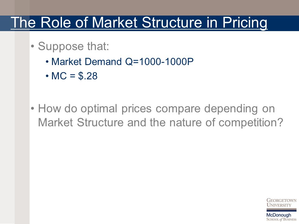 The Role of Market Structure in Pricing Suppose that: Market Demand Q=1000-1000P MC = $.28 How do optimal prices compare depending on Market Structure and the nature of competition?