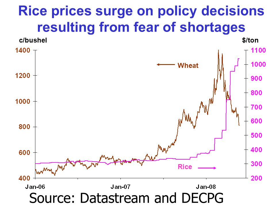 Rice prices surge on policy decisions resulting from fear of shortages c/bushel$/ton Wheat Rice Source: Datastream and DECPG Commodities Group.