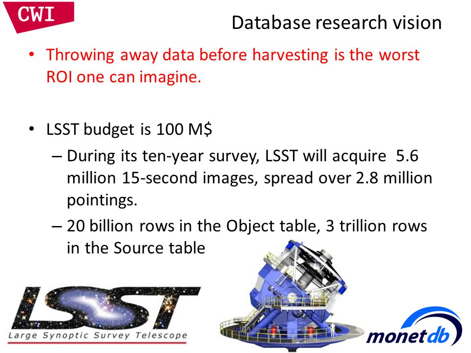 Database research vision Throwing away data before harvesting is the worst ROI one can imagine.