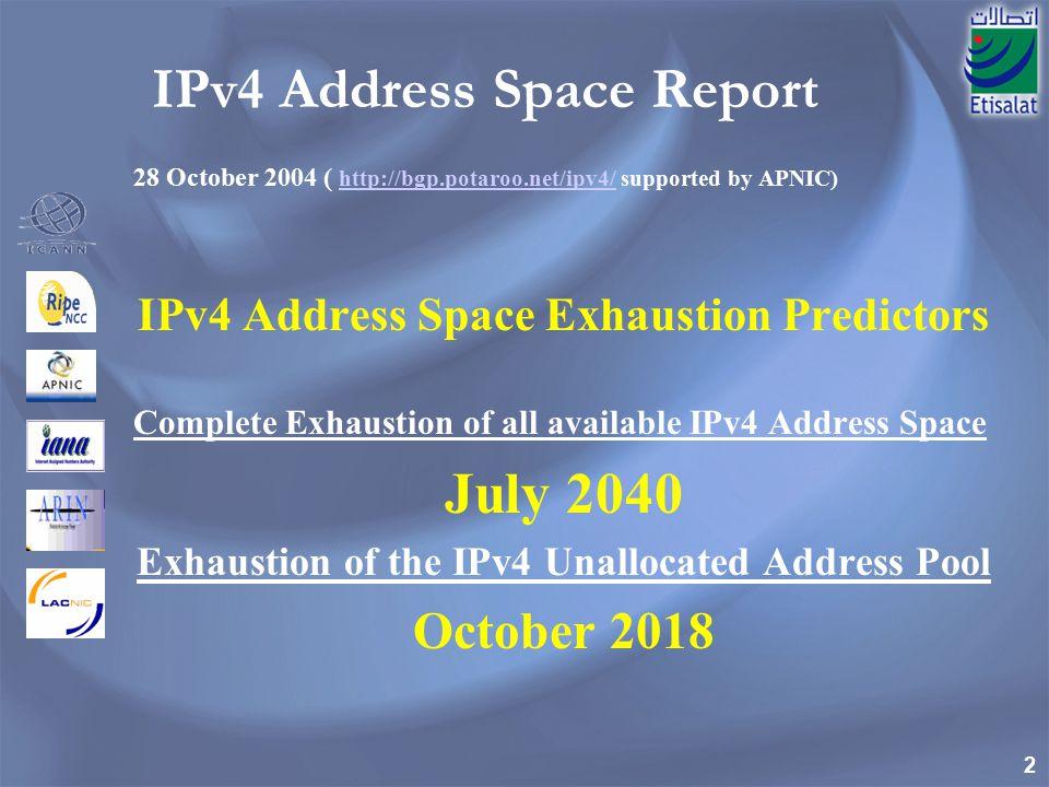 2 IPv4 Address Space Report 28 October 2004 ( http://bgp.potaroo.net/ipv4/ supported by APNIC) http://bgp.potaroo.net/ipv4/ IPv4 Address Space Exhaustion Predictors Complete Exhaustion of all available IPv4 Address Space July 2040 Exhaustion of the IPv4 Unallocated Address Pool October 2018