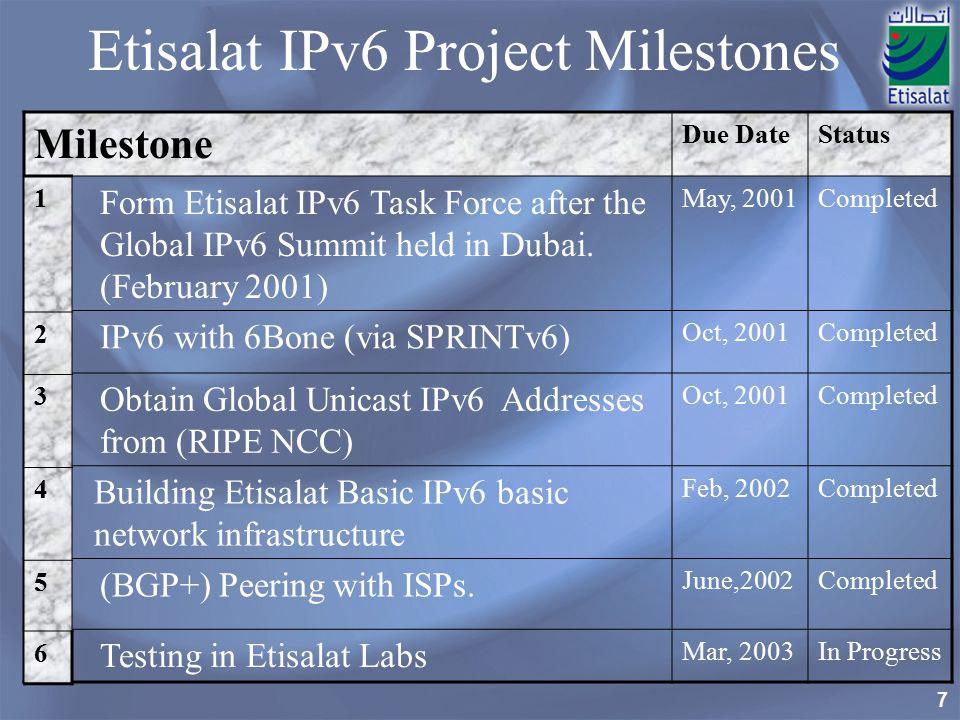 7 Etisalat IPv6 Project Milestones Milestone Due DateStatus Form Etisalat IPv6 Task Force after the Global IPv6 Summit held in Dubai.