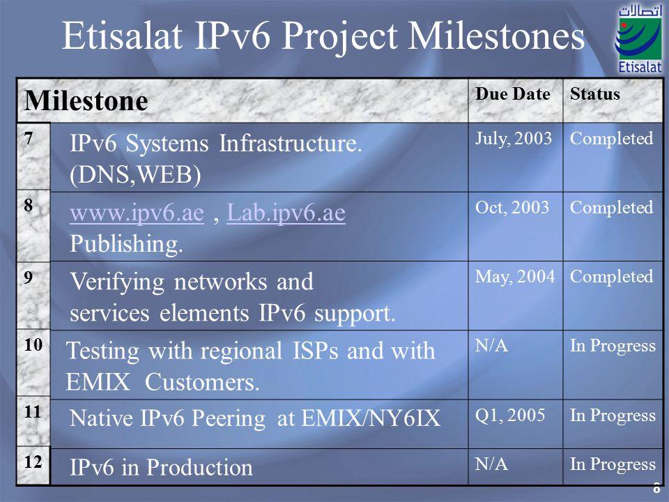 8 Etisalat IPv6 Project Milestones Milestone Due DateStatus IPv6 Systems Infrastructure.