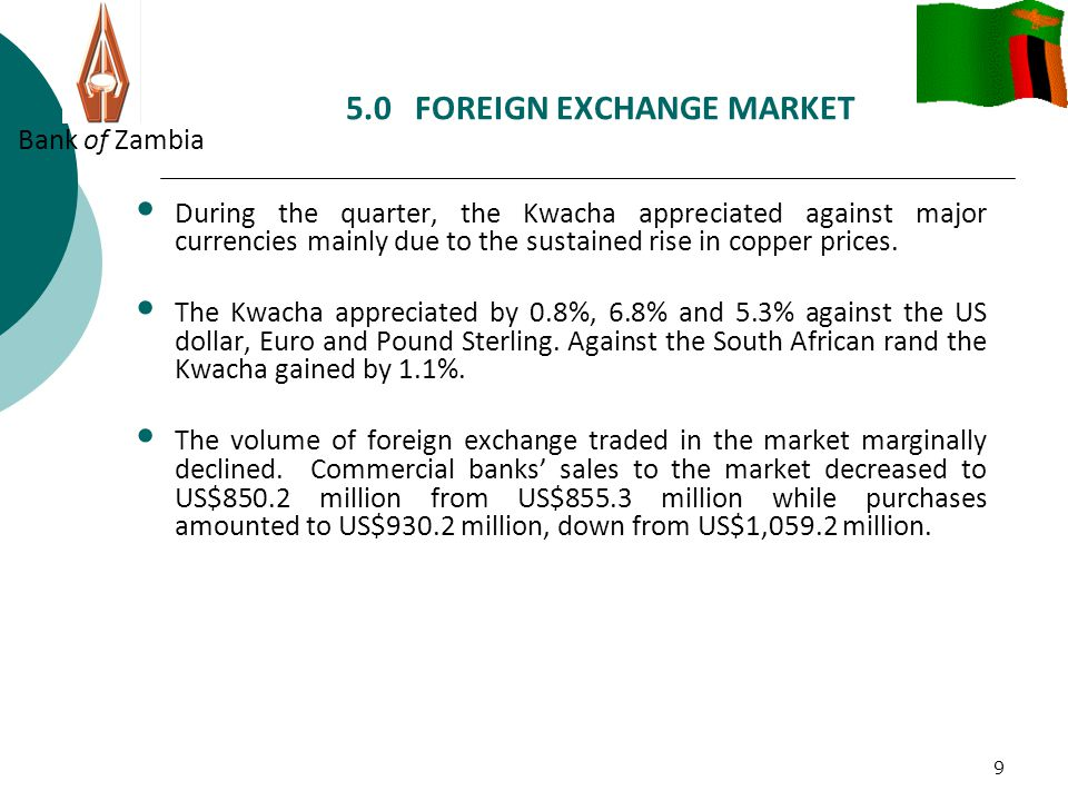 5.0 FOREIGN EXCHANGE MARKET Bank of Zambia 10