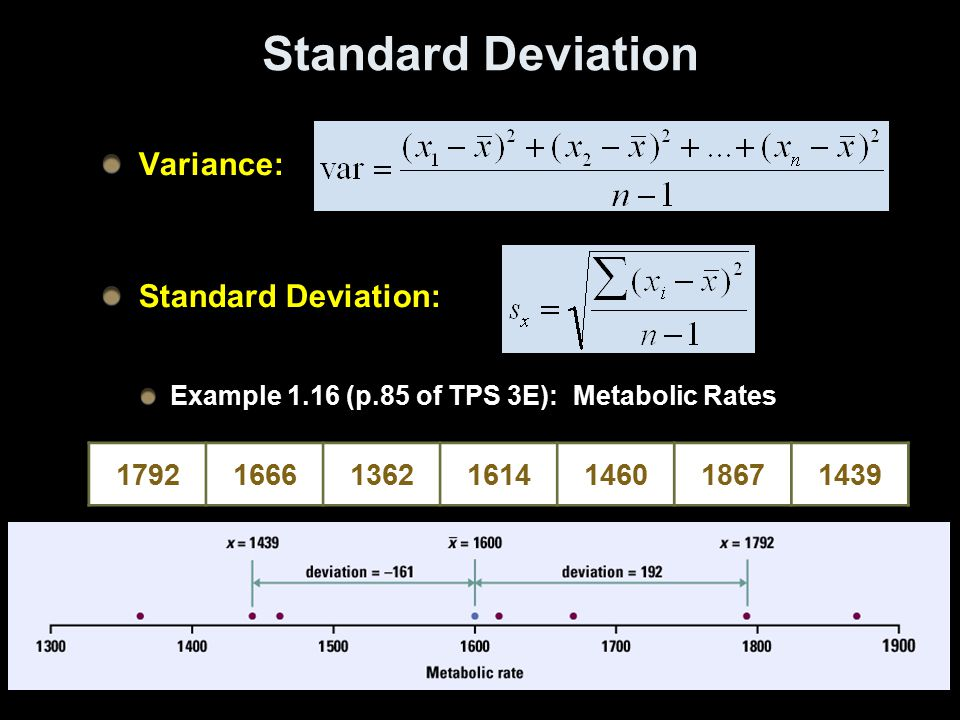 Standard Deviation Variance: Standard Deviation: Example 1.16 (p.85 of TPS 3E): Metabolic Rates 1792166613621614146018671439