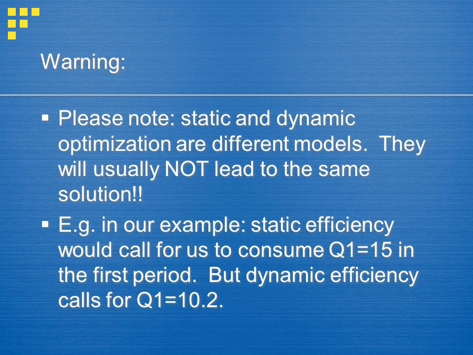 Warning:  Please note: static and dynamic optimization are different models.