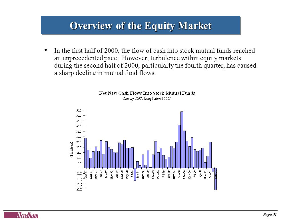 Page 31 In the first half of 2000, the flow of cash into stock mutual funds reached an unprecedented pace.