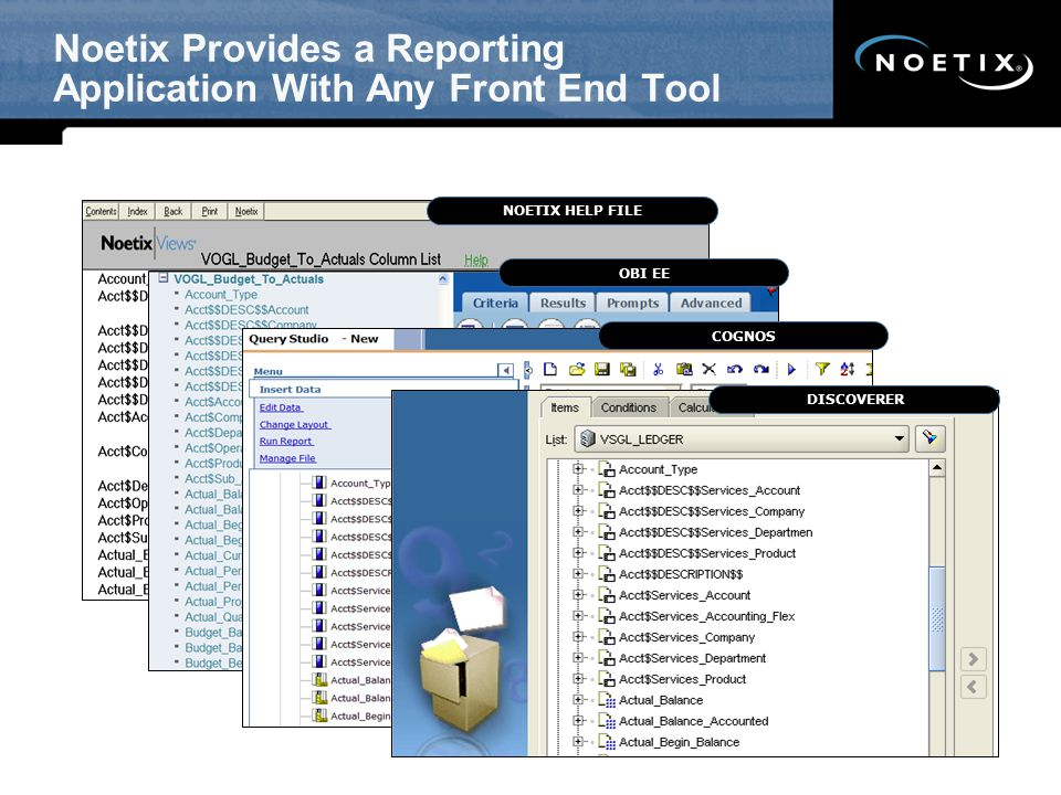 Noetix Provides a Reporting Application With Any Front End Tool NOETIX HELP FILEOBI EECOGNOSDISCOVERER