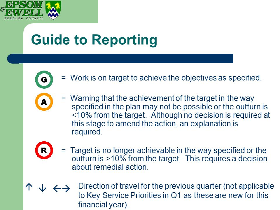Guide to Reporting = Work is on target to achieve the objectives as specified. = Warning that the achievement of the target in the way specified in th
