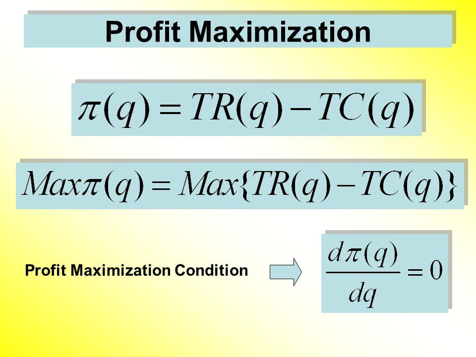 Profit Maximization Profit Maximization Condition