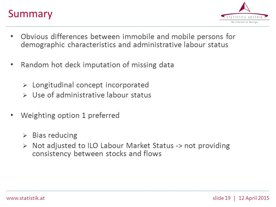 www.statistik.atslide 19 | 12 April 2015 Summary Obvious differences between immobile and mobile persons for demographic characteristics and administrative labour status Random hot deck imputation of missing data  Longitudinal concept incorporated  Use of administrative labour status Weighting option 1 preferred  Bias reducing  Not adjusted to ILO Labour Market Status -> not providing consistency between stocks and flows
