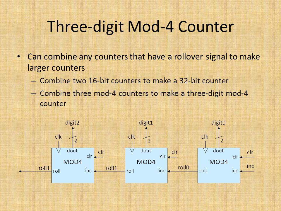 Three-digit Mod-4 Counter Can combine any counters that have a rollover signal to make larger counters – Combine two 16-bit counters to make a 32-bit
