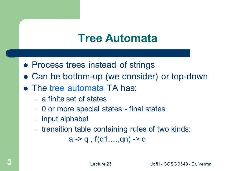 Lecture 23UofH - COSC 3340 - Dr.Verma 4 Informally -- How does a TA work.