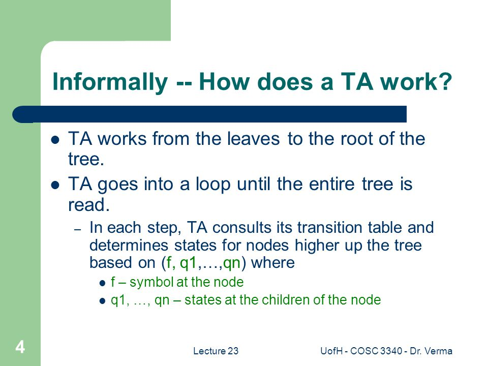Lecture 23UofH - COSC 3340 - Dr.Verma 5 How does a TA work.