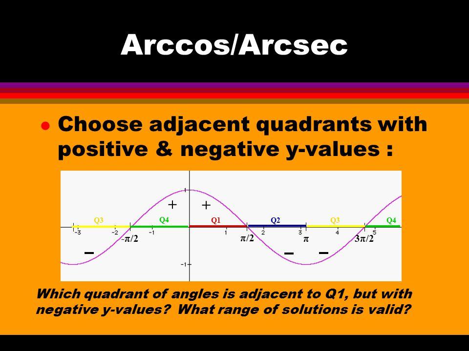 Arccos/Arcsec l Choose adjacent quadrants with positive & negative y-values : Which quadrant of angles is adjacent to Q1, but with negative y-values?