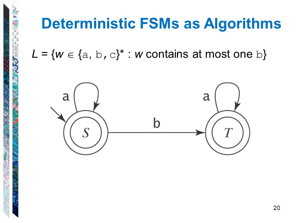 Deterministic FSMs as Algorithms L = {w  { a, b,c }* : w contains at most one b } 20