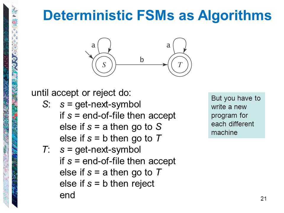 Deterministic FSMs as Algorithms until accept or reject do: S:s = get-next-symbol if s = end-of-file then accept else if s = a then go to S else if s