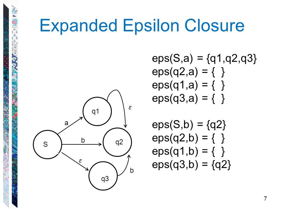 Expanded Epsilon Closure 7 S q1 q3 q2 a b  eps(S,a) = {q1,q2,q3} eps(q2,a) = { } eps(q1,a) = { } eps(q3,a) = { } eps(S,b) = {q2} eps(q2,b) = { } eps(