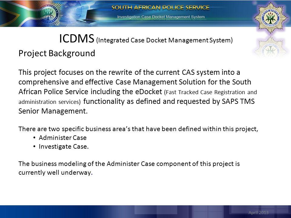 April 2013 5 Specific Sub-Projects within the Greater ICDM Project