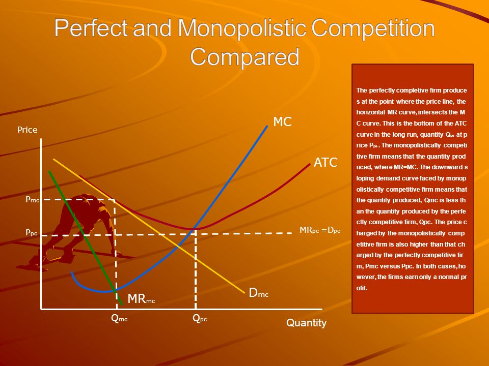 Price MC ATC Q pc D mc MR mc Q mc P mc Quantity P pc MR pc =D pc The perfectly completive firm produce s at the point where the price line, the horizo