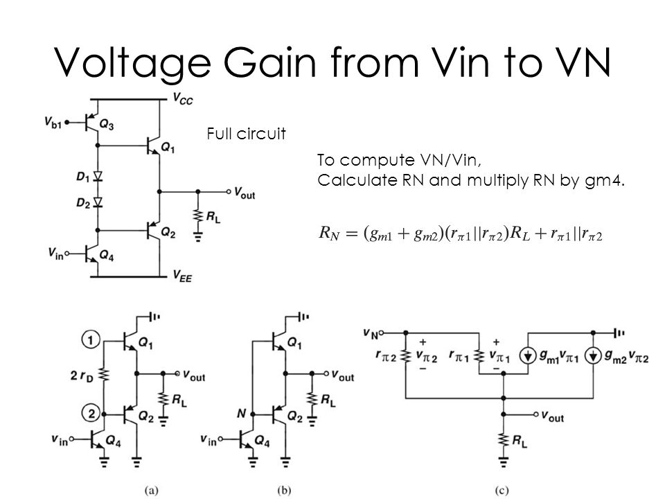 Voltage Gain from Vin to VN Full circuit To compute VN/Vin, Calculate RN and multiply RN by gm4.