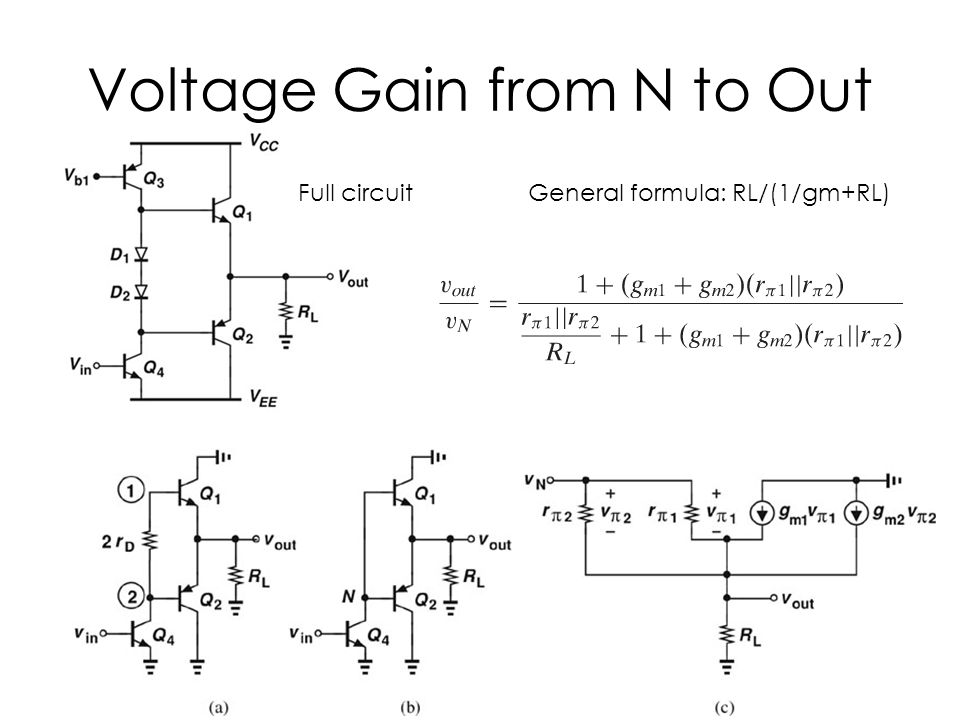 Voltage Gain from N to Out Full circuitGeneral formula: RL/(1/gm+RL)
