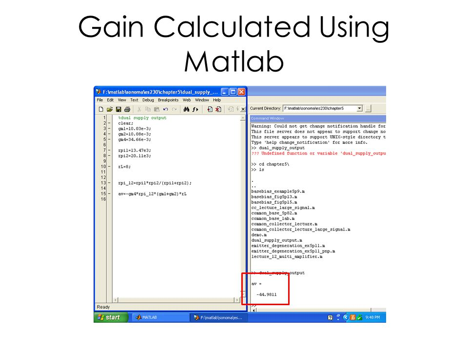 Gain Calculated Using Matlab
